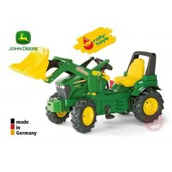 Rolly Toys Traktor John Deere z biegami, pompowane koła z łyżką Trac